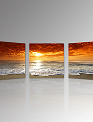 VISUAL STAR®3pcs Sunset Canvas Print For Home Decoration Seascape Beach Modern Painting Wall Art Picture Print on Canvas