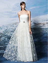 Sheath / Column Wedding Dress Simply Sublime Floor-length Strapless Lace with Crystal Floral Pin Draped Sash / Ribbon