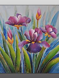 fleur de mur de peinture d'art de toile pourpre moderne