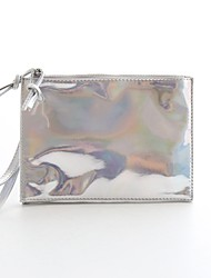 Women PU Casual Clutch - Brown/Silver