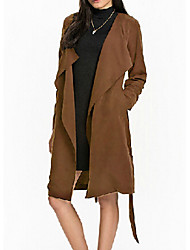Women's Solid Black / Brown Trench Coat , Casual / Party Long Sleeve Others