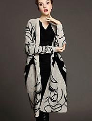 Winni Women's Print Multi-color Coats & Jackets , Casual Cowl Long Sleeve