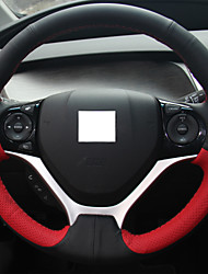 XuJi ™ Red Black Genuine Leather Steering Wheel Cover for Honda Civic Civic 9 2012 2013 2014 2015