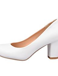 Women's Shoes Chunky Heel Comfort / Round Toe Heels Wedding / Outdoor / Dress / Casual Black / Pink / White / Beige