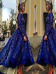 Women's Lace Blue Dresses , Sexy / Lace Round Long Sleeve