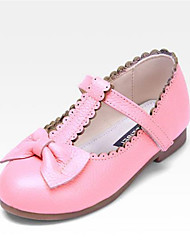 Girls' Shoes Casual Open Toe Leather Flats Black / Pink / Red / White