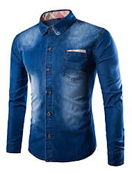 Men's Pure Long Sleeve Top , Cotton/Denim Casual