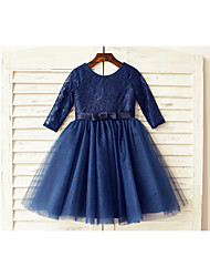 A-line Knee-length Flower Girl Dress - Lace / Tulle 3/4 Length Sleeve Scoop with