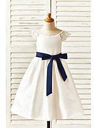 A-line Tea-length Flower Girl Dress - Taffeta Short Sleeve Scoop with