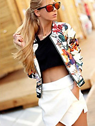 CEN     Women's Print Multi-color Coats & Jackets , Casual Round Long Sleeve