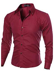 Men's Shirt Collar Casual Shirts , Cotton / Polyester Long Sleeve Casual / Work Fashion All Seasons