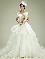 Ball Gown Wedding Dress - Ivory Court Train Off-the-shoulder Organza