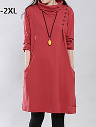 Women's High Collar Plus Size Long Sleeve Dresses (More Colors)
