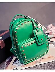 Women PU Weekend Bag Backpack - Pink/Green/Black