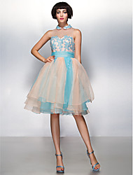 TS Couture Cocktail Party Prom Dress - Color Block A-line Jewel Knee-length Organza with Appliques