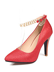 Women's Shoes Glitter Chunky Heel Heels / Pointed Toe Heels Dress Red / White / Gold