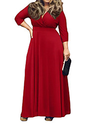 Women's Solid Red / Black / Purple / Navy Blue Dress , Sexy / Plus Sizes V Neck ¾ Sleeve