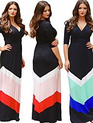 Women's Patchwork Blue/Orange Plus Size Dresses , Sexy/Party V-Neck Long Sleeve