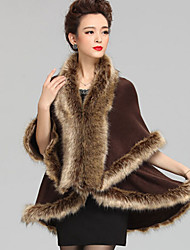 Wedding  Wraps / Fur Coats / Hoods & Ponchos Capes Sleeveless Faux Fur / Imitation Cashmere Black / Khaki / Coffee Wedding Feathers / fur