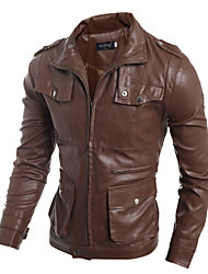 Uonuode Man'S Tide Products Subtract Minimalist Design Korean Men Slim Leather Jacket