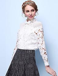 Women's Solid / Lace White Shirt , Shirt Collar Long Sleeve