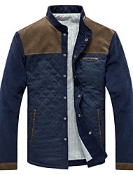 Men's Long Sleeve Casual / Work / Formal / Plus Sizes Jacket,Cotton Solid Blue / Gray