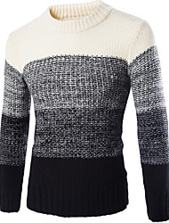 Herren Standard Pullover-Lässig/Alltäglich Einfach Solide Gestreift Rot Beige Schwarz Rundhalsausschnitt Langarm Baumwolle Acryl Winter