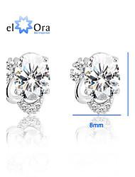 Fine Jewelry 925 Silver Studs Pure Silver Women Earrings Classic Shining 925 Silver Bow CZ Earrings