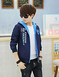 Men's Long Sleeve Jacket , Microfiber/Nylon/Polyester Casual/Sport Print Hooded Jacket