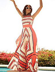 SEXY Women's Striped Red / Green Dresses , Vintage / Sexy / Casual Round Sleeveless