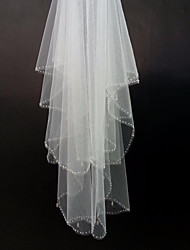 White/Ivory Bridal Wedding Hand-beaded Veil Two-tier Fingertip Veils  Edge With Comb