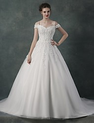 Ball Gown Wedding Dress - White Chapel Train Off-the-shoulder Organza