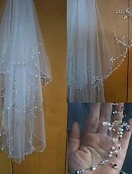 White/Ivory Beads Wedding Veil Two-tier Fingertip Veils Beaded Edge With Comb