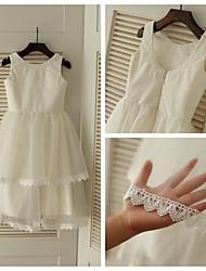 A-line Tea-length Flower Girl Dress - Tulle Sleeveless