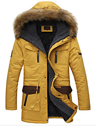 Men's Long Parka Coat , Cotton Pure Long Sleeve