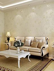 Floral Papel de parede Contemporâneo Revestimento de paredes , Papel não tecido 0.83mm