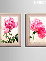 E-HOME® Framed Canvas Art, Pink Flowers Framed Canvas Print Set of 2