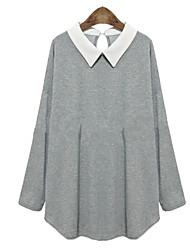Tops e Blusas (Algodão) MULHERES - Casual Colarinho de Camisa - Manga Comprida