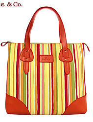 Kate & Co.® Women PVC / Canvas Tote Green / Orange - KF-04463