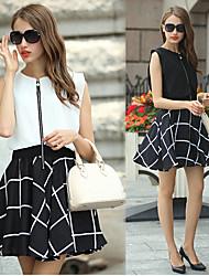Women's Color Block White / Black Dresses , Party Round Sleeveless