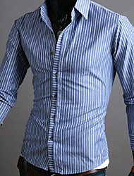 Men's Long Sleeve Shirt , Cotton Casual / Work Striped