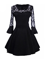 Women's Striped / Lace Black Dress , Sexy Shirt Collar Long Sleeve