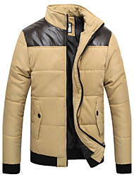 Men's Stand Coats & Jackets , Cotton / Cotton Blend Long Sleeve Casual Pocket Winter NEWJOGAL