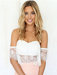 Women's White Strapless  Blouse