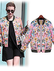 CEN     Women's Print Pink Coats & Jackets , Casual Round Long Sleeve