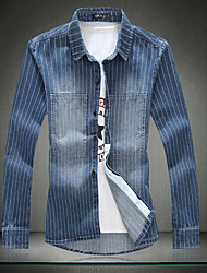 Men's Fringe Jeans Shirt Loose Coat 6XL