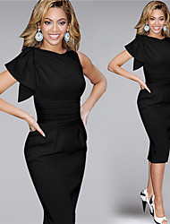 Women's Simple Solid Bodycon Dress,Round Neck Knee-length Polyester