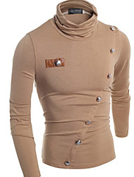 Power  Men's High-Neck T-Shirts , Cotton Blend Long Sleeve Casual Button Fall