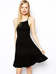 Women's Sexy Solid A Line Dress , Strap Knee-length Polyester
