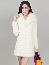 Women's Fashion Casual Fox Fur Spliced Genuine/Real Rabbit Fur Coat/Jacket